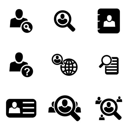 search icon: Vector black people search icon set  on white background Illustration