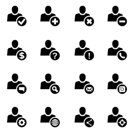 black people: Vector black people search icon set  on white background Illustration