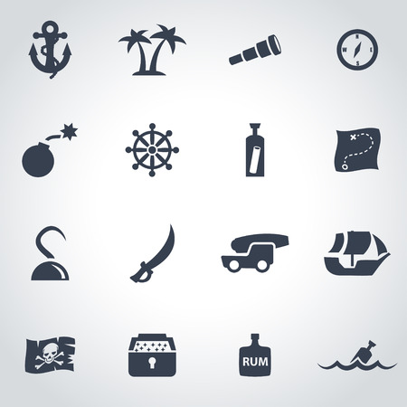pirate flag: Vector black pirate chart icon set on grey background