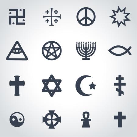 simbolos religiosos: Vector negro símbolos religiosos establecidos en el fondo gris Vectores
