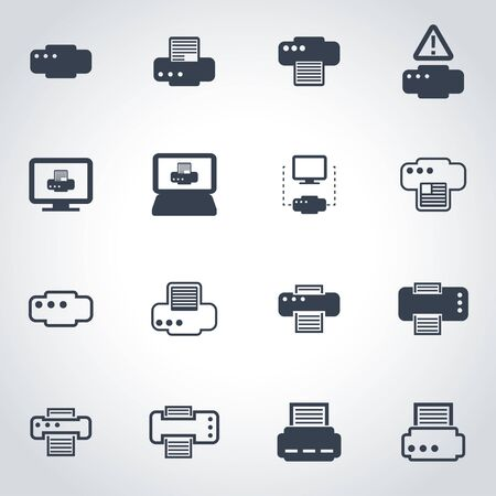 inkjet: Vector black printer icon set on grey background