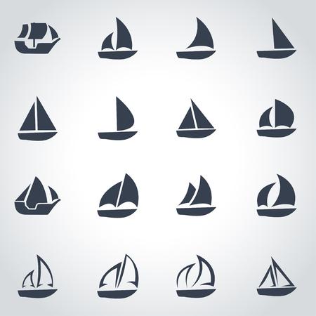 sailboat: Vector black sailboat icon set on grey background