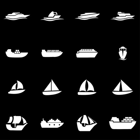 ships: Vector white ship and boat icon set on black background