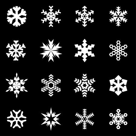 copo de nieve: Conjunto blanco del icono del copo de nieve fijó en el fondo negro