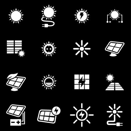 electricidad industrial: Conjunto blanco del icono de la energía solar fija sobre fondo negro