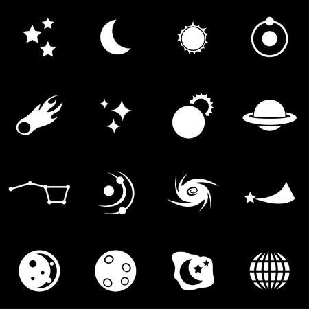 white space: Vector white  space icon set on black background