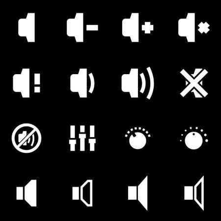 sound speaker: Vector white speaker icon set on black background