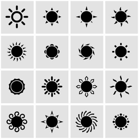 Vector icono del sol negro ajustado sobre fondo gris