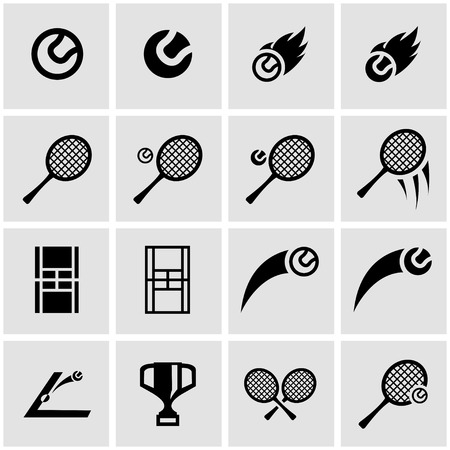 tenis: Vector icono del tenis negro establece sobre fondo gris