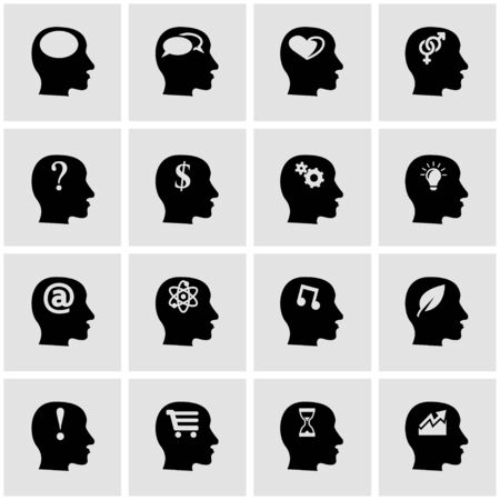 thinking icon: Vector black thoughts icon set on grey background
