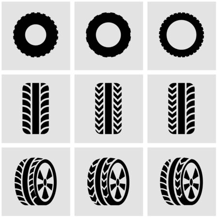low tire: Vector black tire icon set on grey background