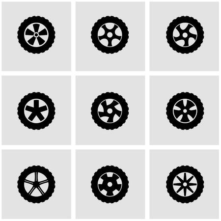 wheel rim: Vector black wheel icon set on grey background