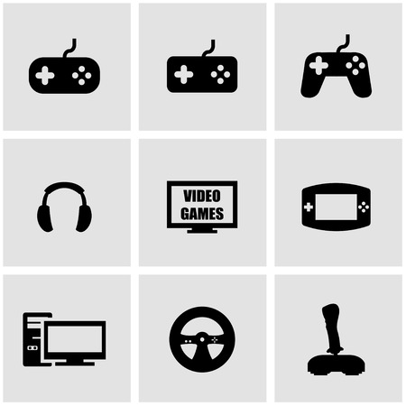 Vector black video games icon set on grey background Ilustrace