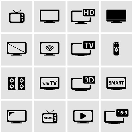 tv icon: Vector black tv icon set on grey background Illustration