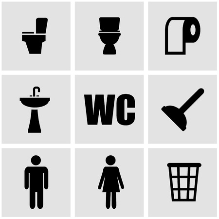 toilet icon: Vector black toilet icon set on grey background Illustration
