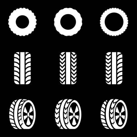 llantas: Vector icono de neumáticos negro ajustado fondo negro