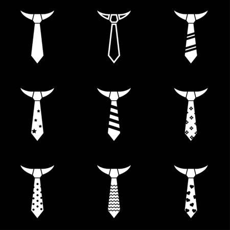 ties: Vector black tie icon set black background
