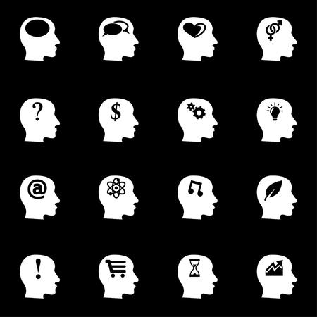 persona pensando: Vector pensamientos blancos conjunto de iconos sobre fondo negro