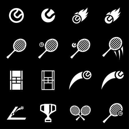 TENIS: Conjunto blanco del icono del tenis fijó en el fondo negro Vectores