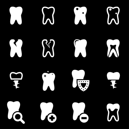 diente: Vector dientes blancos conjunto de iconos sobre fondo negro Vectores