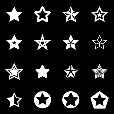 star award: Vector white stars icon set on black background