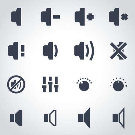 computer speaker: Vector black speaker icon set on grey background Illustration