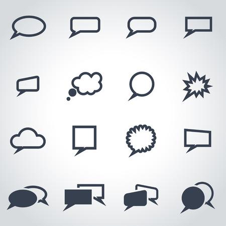 burbuja: Vector negro discurso burbujas icono de conjunto sobre fondo gris