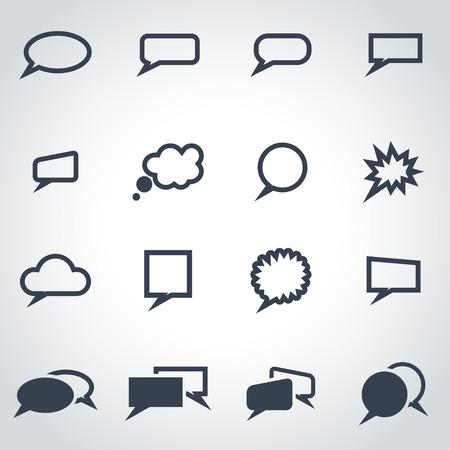 Vector black speach bubbles icon set on grey background