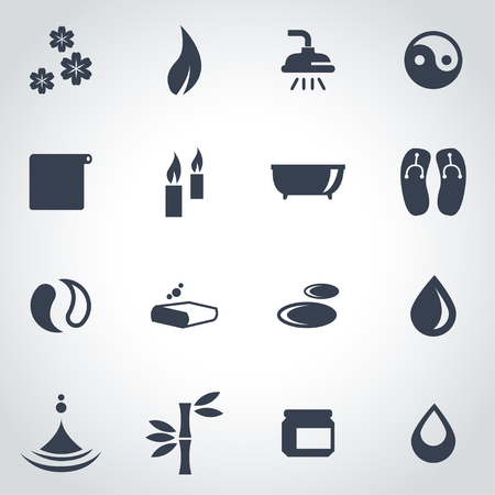 spa stones: Vector black spa icon set on grey background Illustration