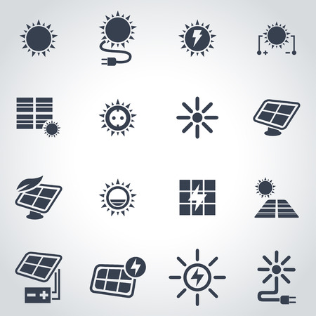 Vector black solar energy icon set on grey background