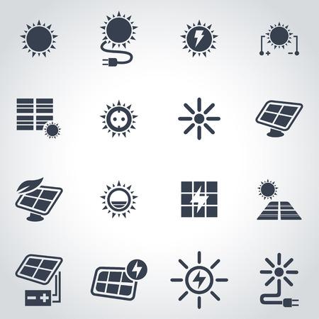 Vector zwarte zonne-energie icon set op een grijze achtergrond