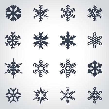 Vector black snowflake icon set on grey background  イラスト・ベクター素材