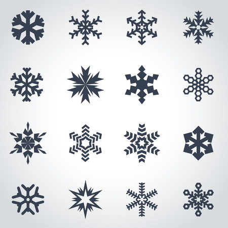 Vector black snowflake icon set on grey background Illustration