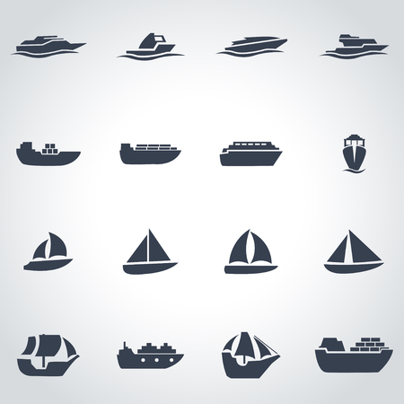 Vector black ship and boat icon set on grey background Illustration