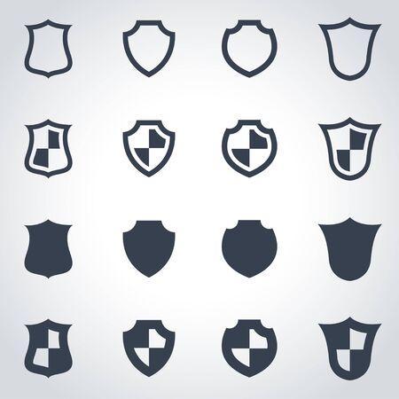 escudo: Vector icono de escudo negro situado en el fondo gris