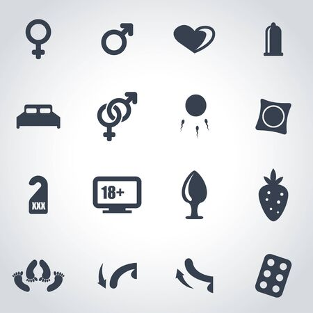 black sex: Vector black sex icon set on grey background
