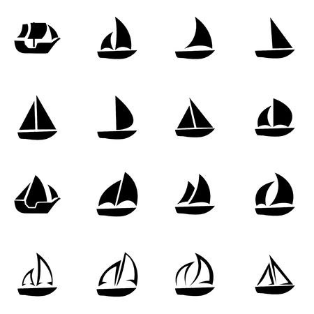 白い背景の設定ベクトル黒ヨットのアイコン