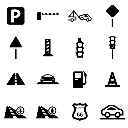 road signs: Vector black road icon set on white background Illustration