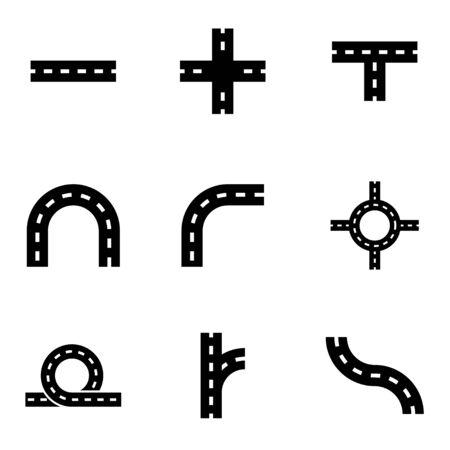 elements: Vector black road elements icon set on white background Illustration