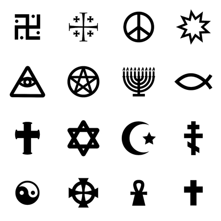 Vector Black Religious Symbols Set On White Background Royalty Free
