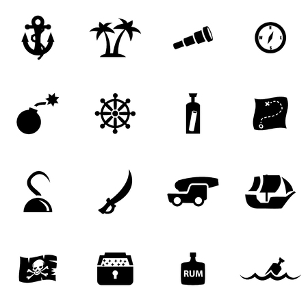 pirate flag: Vector black pirate chart icon set on white background Illustration