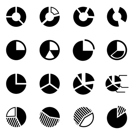 pie chart icon: Vector black pie chart icon set on white background