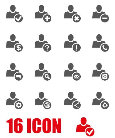 user icon: Vector grey people search icon set  on white background