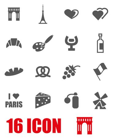 paris france: Vector grey paris icon set  on white background Illustration
