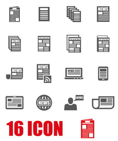 newspaper icon: Vector grey newspaper icon set on white background