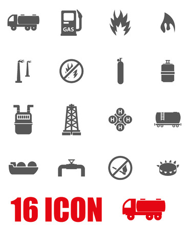 natural gas: Vector grey natural gas icon set on white background