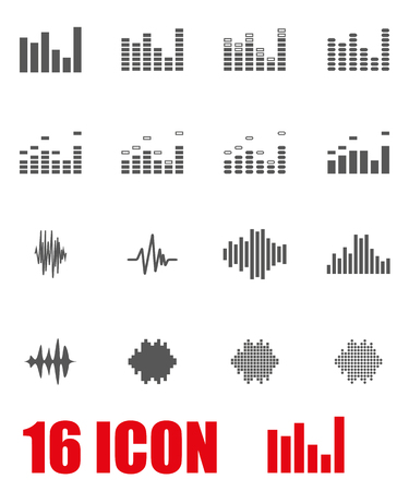 soundwave: Vector grey music soundwave icon set on white background