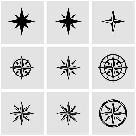 rosa vientos: Vector viento negro se elevó conjunto de iconos sobre fondo gris