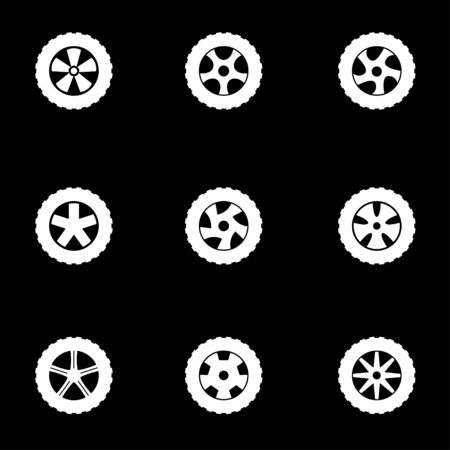wheel rim: Vector white wheel icon set on black background