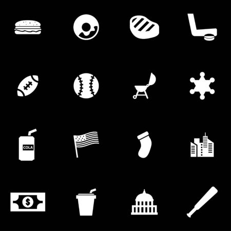usa: Vector white usa icon set on black background